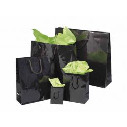 Sacs papier noirs pelliculés brillant