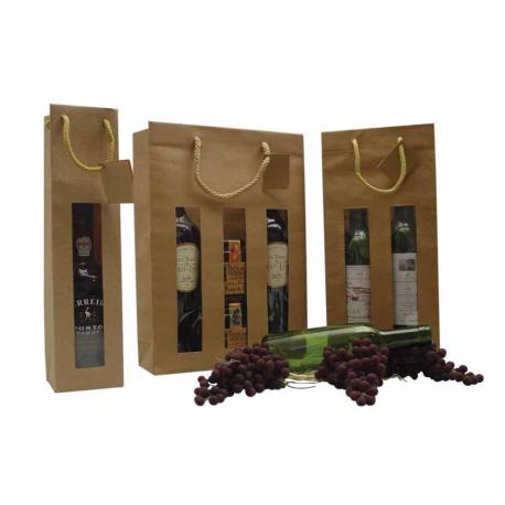 Bruine flessendraagtas met venster