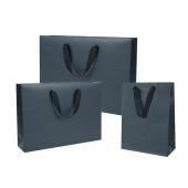 Mat zwarte draagtas met handvat uit lint