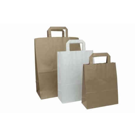 Papieren kraft tassen met plat handvat for Papieren kraft zakjes